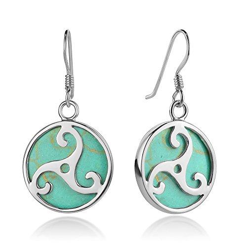 SUVANI Sterling Silver Triple Spiral Triskele Triskelion Celtic Symbol Turquoise Dangle Hook Earrings 1.3'