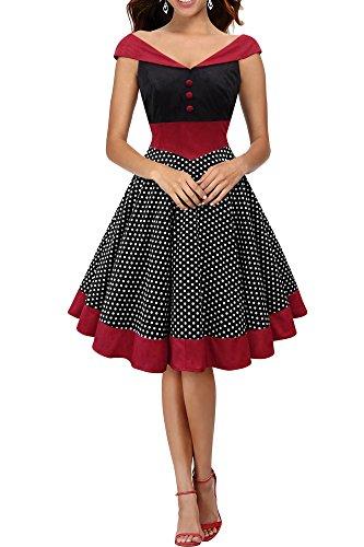 BlackButterfly 'Sylvia' Vestido Vintage De Lunares Pin-Up (Negro, ES 44 - XL)