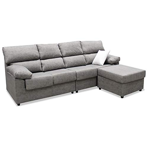 Mueble Sofa ChaiseLongue, Subida Domicilio, Cuatro plazas, Color Gris, cheslong Anti Manchas ref-07