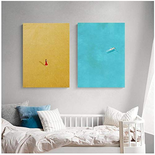 Piscina Alone Girl Print Posters Alone Illustration Series Canvas Art Painting Home Living Room Wall Picture Home Decor-50x70cmx2Pcs sin Marco