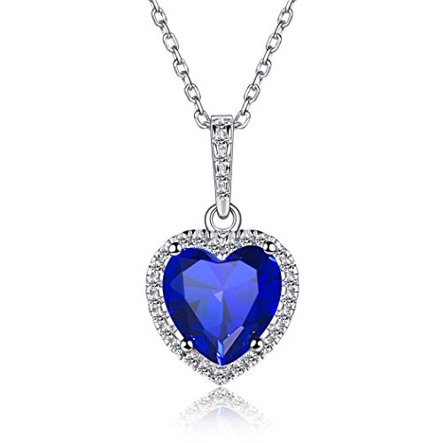 ChicSilver Septiembre Collar Colgante de Corazón Decorativo Piedras de 12 Meses Joyería de Plata de Ley 925 para Mujer Diamantes de Nacimiento Zafiro Azul Oscuro