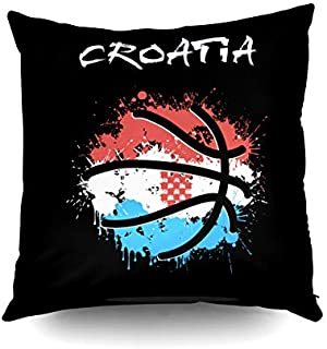 KIOAO Summer,Square Throw Pillowcase Covers Standard Abstract Basketball Ball Painted in The Colors of The Croatia Flag Illustration Printed with Both Sides 16X16Inch