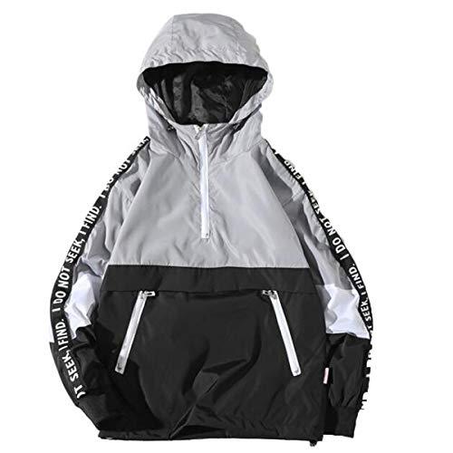 OverDose Damen Herren Herbst Winter Stil Lose Täglich Gym Sport Jogging Mit Kapuze Sturm Mantel Large Size Jacke Funktionsjacke Regenjacken(Grau,46 DE/S CN)