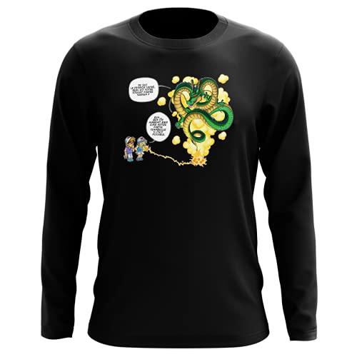 Okiwoki T-Shirt Manches Longues Noir Parodie Dragon Ball Z - DBZ - Shenron et Les pétanqueurs Marseillais - La Pétanque, C'est sacré ! (T-Shirt de qualité Premium de Taille L - imprimé en France)