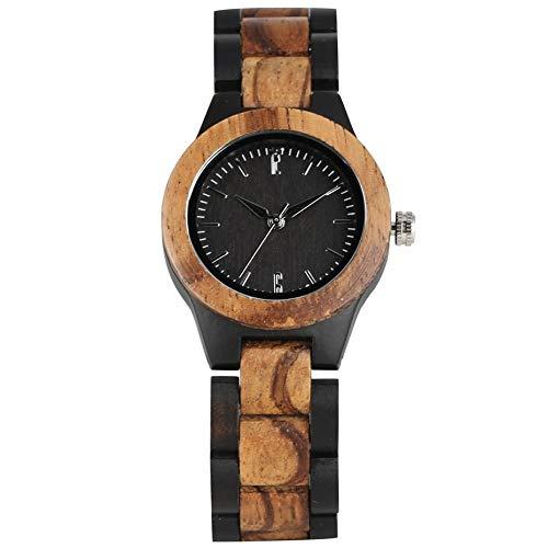 LOOMUCI Reloj de Madera Reloj de Madera de Nogal Retro con Esfera Pura Simple, Horas de Reloj para Mujer, Relojes de Pulsera de Madera Completamente Ajustables para Mujer, 5