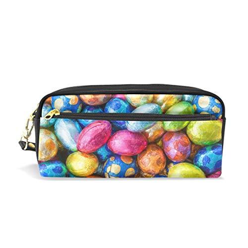 PU Leder Federmäppchen Stifteetui bunte bemalte Eier Kosmetik Make-up Multifunktionstasche Tasche Halter mit Reißverschluss Büro Schreibwaren für Kinder, Jugendliche, Jungen, Mädchen, Männer, Frauen