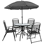 Flash Furniture Nantucket 6 Piece Black Patio Garden Set with Table, Umbrella and 4 Folding Chairs 13 Outdoor Retreat: Change your setting relax, entertain, eat, drink outdoors. Lightweight chairs transport easily. Get your outdoor living space from boring to appealing with this glass patio table set with water wave top and umbrella Product Measurements: Table Size: 31.25 inch W x 31.25 inch D x 28 inch H | Base Size: 17.75 inch W x 19 inch L | Umbrella Size: 59 inch W x 59 inch D x 80 inch H; 76 inch H Closed | Chair Size: 21.25 inch W x 25 inch D x 35.25 inch H | Back Size: 17 inch W x 22.25 inch H | Seat Size: 17.25 inch W x 16 inch D x 16 inch H Tempered glass table with black metal base, floor glides, clean with water based cleaner