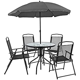 Flash Furniture Nantucket 6 Piece Black Patio Garden Set with Table, Umbrella and 4 Folding Chairs 8 Outdoor Retreat: Change your setting relax, entertain, eat, drink outdoors. Lightweight chairs transport easily. Get your outdoor living space from boring to appealing with this glass patio table set with water wave top and umbrella Product Measurements: Table Size: 31.25 inch W x 31.25 inch D x 28 inch H | Base Size: 17.75 inch W x 19 inch L | Umbrella Size: 59 inch W x 59 inch D x 80 inch H; 76 inch H Closed | Chair Size: 21.25 inch W x 25 inch D x 35.25 inch H | Back Size: 17 inch W x 22.25 inch H | Seat Size: 17.25 inch W x 16 inch D x 16 inch H Tempered glass table with black metal base, floor glides, clean with water based cleaner
