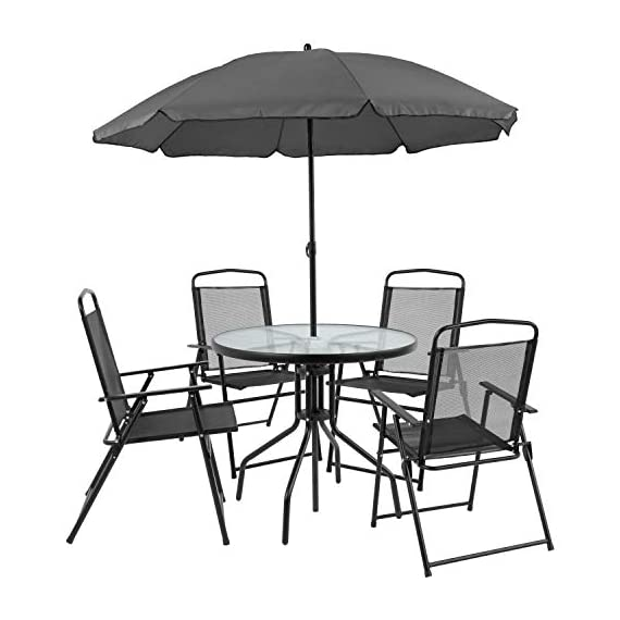 Flash Furniture Nantucket 6 Piece Black Patio Garden Set with Table, Umbrella and 4 Folding Chairs 1 Outdoor Retreat: Change your setting relax, entertain, eat, drink outdoors. Lightweight chairs transport easily. Get your outdoor living space from boring to appealing with this glass patio table set with water wave top and umbrella Product Measurements: Table Size: 31.25 inch W x 31.25 inch D x 28 inch H | Base Size: 17.75 inch W x 19 inch L | Umbrella Size: 59 inch W x 59 inch D x 80 inch H; 76 inch H Closed | Chair Size: 21.25 inch W x 25 inch D x 35.25 inch H | Back Size: 17 inch W x 22.25 inch H | Seat Size: 17.25 inch W x 16 inch D x 16 inch H Tempered glass table with black metal base, floor glides, clean with water based cleaner