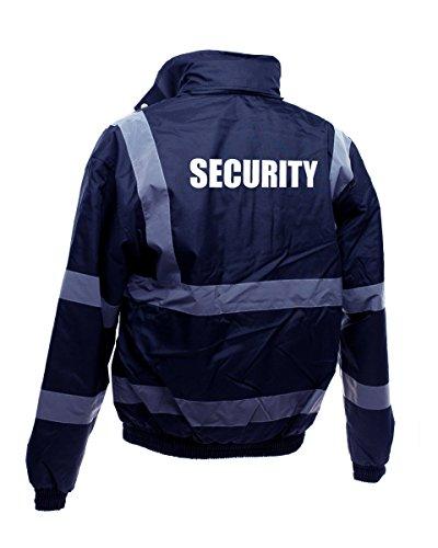 Workwear World WW161 - Giacca Bomber con Scritta Security, Colore: Bianco Marina Militare L