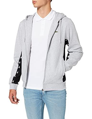 Lacoste Men's SH5174 Sweater, Argent Chine/Noir, M
