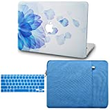 KECC Laptop Case for MacBook Air 13' Retina (2020/2019/2018, Touch ID) w/Keyboard Cover + Sleeve Plastic Hard Shell Case A1932 3 in 1 Bundle (Blue Flower)