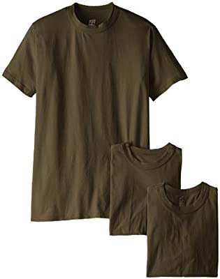 Soffe Men's 3 Pack - 100% Cotton Military Tee, OD Green, Small
