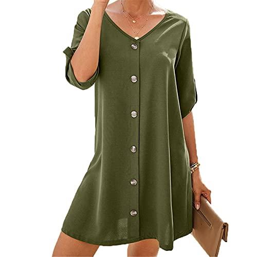 Vestido De Un Solo Pecho De Color Puro, Falda De LíNea A De Cintura Alta De Primavera para Mujer, Mangas De Cinco Puntos, Cuello En V, Ropa Corta para Mujer