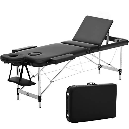 JL Comfurni  Portable Massage Table 3 Section All-Inclusive Folding Couch Bed for Tattoo Beauty Salon Therapy with Aluminum Frame -Black