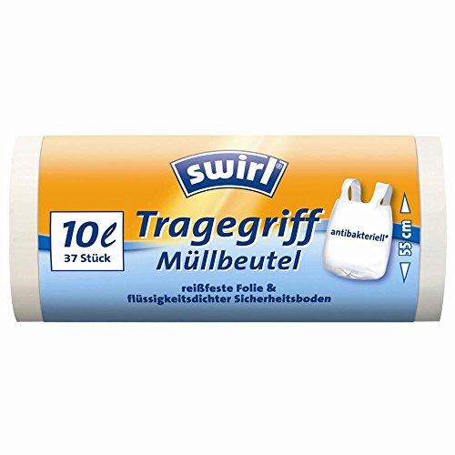 Swirl Tragegriff-Müllbeutel, 10 Liter, Antibakteriell, 1 Rolle mit 37 Beuteln, Weiß