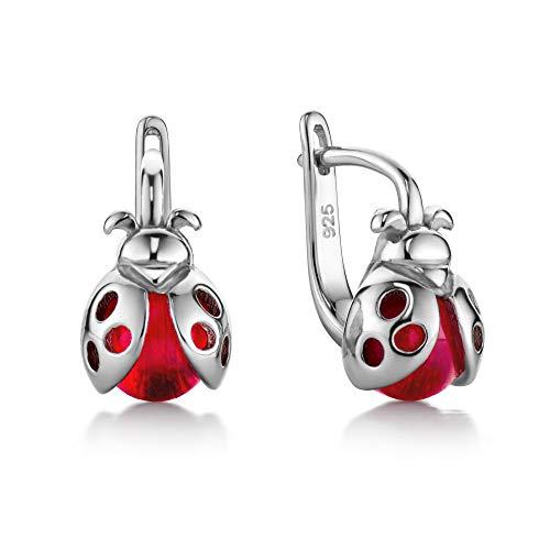 butterfly Mädchen Silber-Ohrringe Sterling-Silber 925 rot Marienkäfer Satin-Beutel Kinderschmuck Geschenke