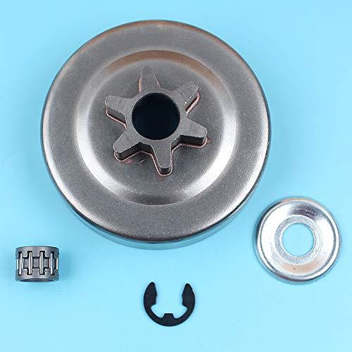 Haoyueda 3/8' -6T Cilindro del embrague Piñón Lavadora E-clip Compatible con STIHL MS170 MS180 MS210 MS230 MS250 017 018 021 023 025 motosierra