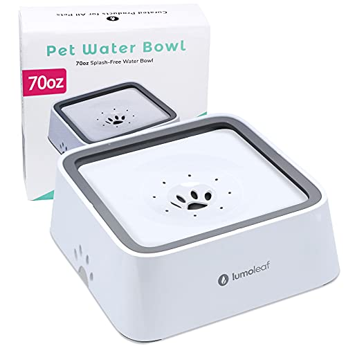 LumoLeaf Dog Water Bowl, 70oz 2L Dog Bowl Large Capacity No-Spill Pet Water Bowl, Non-Slip Slow Water Feeder Dispenser with Replacement Filter, Vehicle Travel Dog Water Bowl for Medium Large Dogs