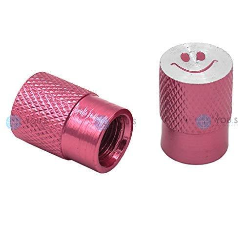 YOU.S Alu Smiley Ventilkappen Pink/Rosa mit Dichtung Ventil Kappen Abdeckung für Auto PKW LKW Motorrad Fahrrad (2 Stück)