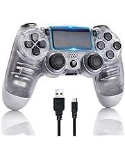 AETUHU Controller PS4 Gamepad Bluetooth wireless per Sony Playstation 4 con cavo USB Compatibile con PC Windows e Android iOS 【Versione aggiornata】 Bianco trasparente