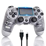 PS4 Controller Wireless Bluetooth Gamepad for Sony Playstation 4 with USB Cable Compatible with Windows PC & Android iOS【Upgraded Version】 Crystal White