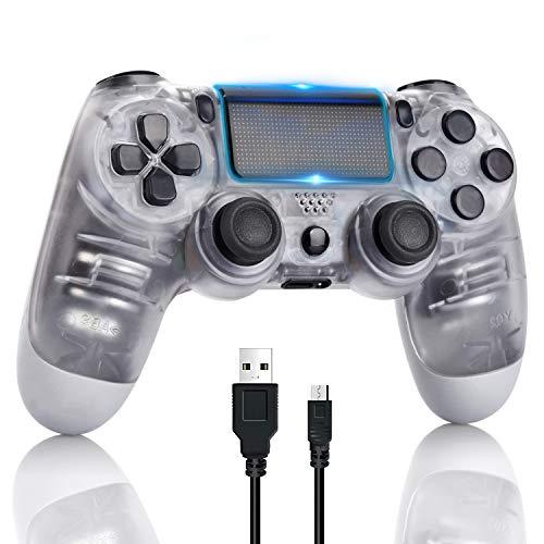 Controller di gioco PS4, controller di gioco Gamepad con funzione audio a doppia vibrazione, per Sony Playstation 4 con cavo USB Compatibile con PC Windows e Android iOS - Bianco trasparente