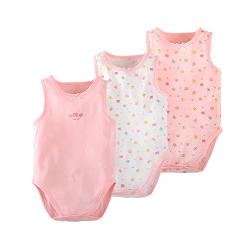 PAUBOLI - Body de algodón orgánico sin mangas para recién nacido, 3 – 24 meses Rosa Lazo. 6 mes