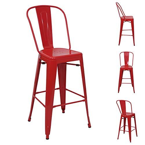 Mendler 4X Tabouret de Bar HWC-A73, Chaise de comptoir avec Dossier, métal, Design Industriel - Rouge