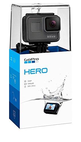GoPro Hero (2018) - Videocámara de acción (10 MP, vídeo 1080p, resistente y sumergible hasta 10m sin carcasa, pantalla táctil de 2', control por voz, Wi-Fi/Bluetooth), color negro