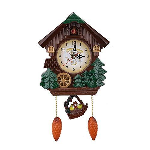AUNMAS Reloj de Pared de Cuco Artesanía de época Casa de Madera del árbol de la Moda para el Dormitorio Sala de Estar Escuela decoración de la Oficina