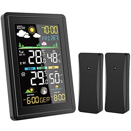 BALDR Wetterstation Funk mit 2 Außensensor, Digital Thermometer Hygrometer Innen und Außen Raumthermometer Feuchtigkeit mit Wettervorhersage, Mondphase, Uhrzeitanzeige, Wecker und Nachtlicht