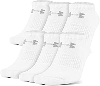 Under Armour Adult Cotton No Show Socks 6-Pairs White/Gray Large