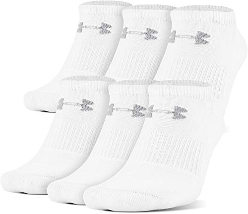 Under Armour Adult Charged Cotton 2.0 No Show Socks, 6-Pairs, White/Gray, Shoe Size: Mens 8-12, Womens 9-12