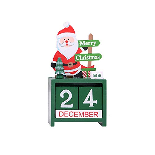 Christmas Advent Countdown Calendar Number Date Wooden Blocks Tabletop Desk Calendar Decoration for Home Office Decoration (Santa)