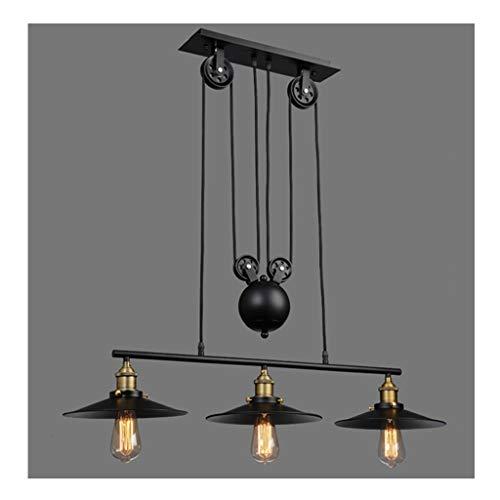 #Pendellampen Amerikaanse stijl kroonluchter Retro Loft industriële wind smeedijzeren hanglamp creatieve bar café driekops katrol decoratieve lampen