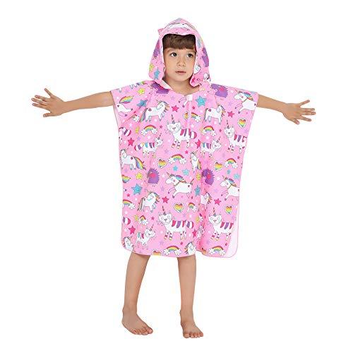 Kapuzenponchos Kinder Badeponcho Kapuzenhandtuche Badetuch Strandtuch Mikrofaser Saugfähig Weich Tiermotiv für Mädchen Jungs Baby (Rosa Einhorn)