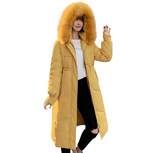Bravetoshop Women's Thickened Down Jacket Mid Length Quilt Winter Puffer Coat Fur Trim Removable Hooded Overcoat(Yellow,XXL)