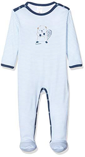 Schiesser Baby-Jungen Anzug Mit Fuß Zweiteiliger Schlafanzug, Blau (hellblau 805), 56 (Herstellergröße:056)