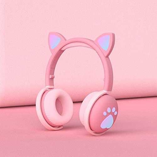 Lindo gato garra Bluetooth auriculares macarons orejas de gato auriculares Bluetooth auriculares en vivo llamada chica ventilador
