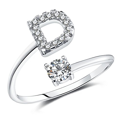 FAURORA Rings for Women Initial Ring Letter Ring A-Z Adjustable Silver Rings Women Rings Size 6-11 Gift Set D
