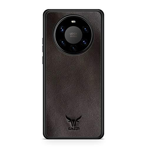 GAZZI Lederhülle für Huawei Mate 40 PRO Hülle Hülle Schale Backcover Handyhülle Schutzhülle Echt Leder, R&umschutz, Flexible Schale (Vedette Coffee)
