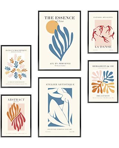 Heimlich Set di Stampe da Parete - Senza Cornici - Decorazioni da Muro per Soggiorno, Camera da Letto e Cucina - Poster Abbinati - 2 x A3 & 4 x A4-30x42 & 21x30 | » Abstract Matisse Modern «