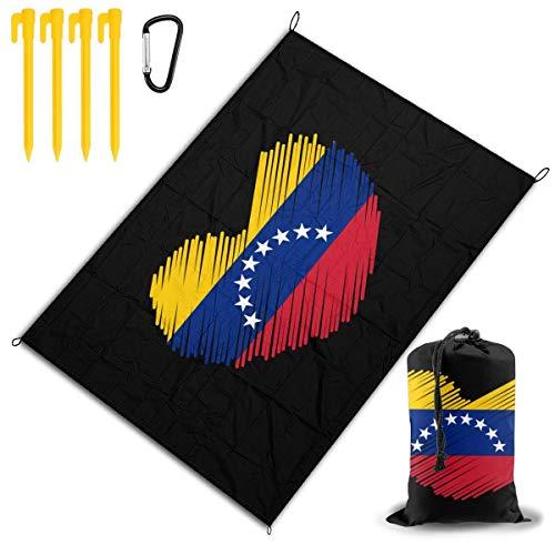 WGYWE Venezianische Flagge in Herzform, tragbare Picknickdecke, wasserdicht, Strandmatte, faltbar, Outdoor-Teppich