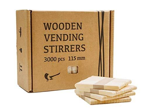Mezclador de café de madera apto para el coche, varillas de madera para máquinas Vending, juego de cubiertos, palos de hielo, 3 000 unidades, 115 x 9,6 x 1,5 mm (115 x 9,6 x 1,5 mm)