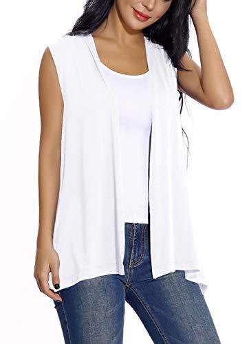 Chaleco sin Mangas Cardigan para Mujer Abrigo Ligero y Fresco (XL, Blanco)