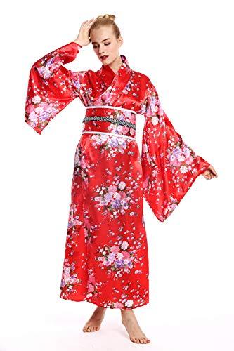 dressmeup - W-0289 Disfraz Mujer Feminino Halloween quimono Kimono Geisha Japón japonaise Chine Rojo Flores de Cerezo Talla M