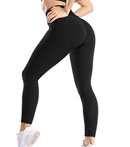 Lalamelon Damen Honeycomb Gym Leggings Sporthose Anti Cellulite Hohe Taille Yogahosen Sexy Booty Geraffte Push Up Leggins Hotpants Kompression Sport Fitness Hose Sportleggings mit Bauchkontrolle