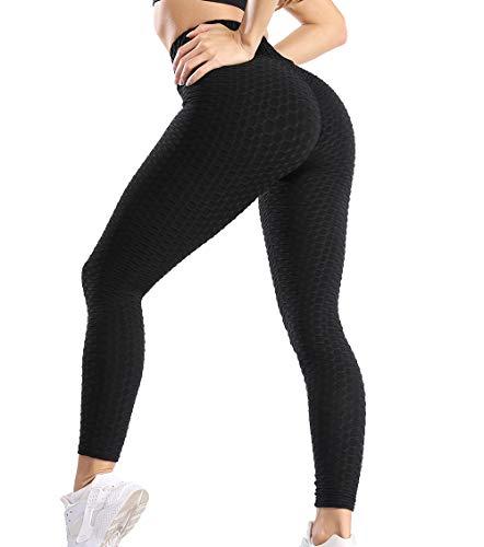 KIWI RATA Mallas Push up Mujer Leggins Deportivos Yoga Leggings de Cintura Alta Pantalones Deporte para Fitness Running Elásticos y Transpirables (Negro, S)