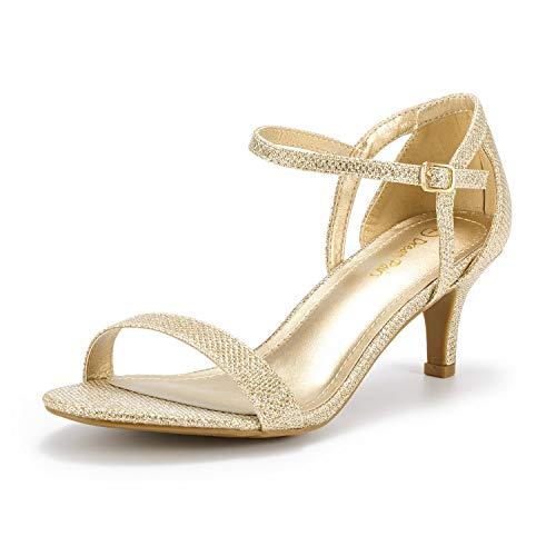 DREAM PAIRS Women's Lexii Gold Glitter Fashion Stilettos Open Toe Pump Heel Sandals Size 10 B(M) US